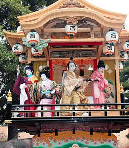 開催日が変更される出町子供歌舞伎曳山=昨年4月、砺波市の出町神明宮で