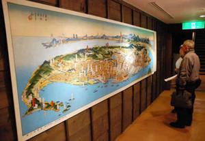 注目を集めた鳥瞰図=半田市中村町の博物館「酢の里」で