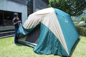 雨量に応じてテント客の料金を値引きする孫太郎オートキャンプ場=紀北町紀伊長島区東長島で