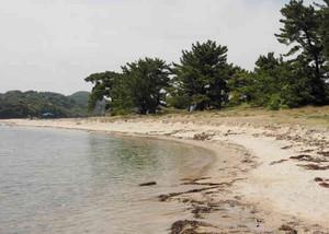 砂浜が波でえぐられた水島=敦賀市役所提供