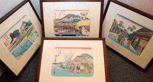 東海道を行き交う妖怪たちを描いた水木さんの「妖怪道五十三次」=草津市立草津宿街道交流館で