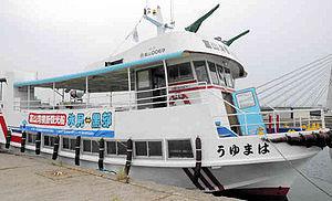 18日から就航する富山湾横断観光船=氷見市の氷見漁港で