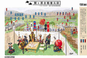 西軍大将の石田三成の本陣を中心に描いた関ケ原合戦の復元図