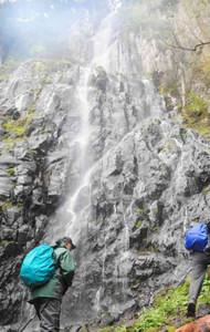 入山者を楽しませた青垂の滝雄滝=高山市丹生川町で