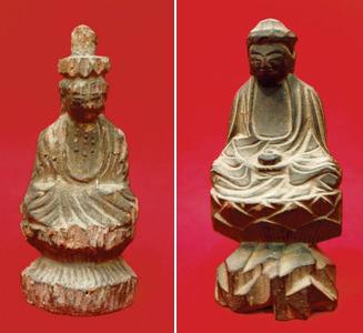 (右)丁寧に彫られた薬師如来像(左)県内で初めて見つかった座像の「十一面観音菩薩像」=いずれも一宮市大和町妙興寺の市博物館で