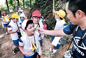 登山道の途中でサンショウの葉の香りをかぐ児童=加賀市曽宇町で