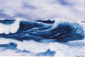 海を描いた加山さんの作品(北野カルチュラルセンター提供)