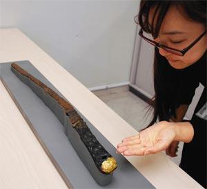 浜松市指定文化財になる朝鮮半島由来の大刀=浜松市役所で