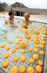 日本海が一望できる露天風呂でゆず湯を楽しむ来場者ら=越前町米ノの越前温泉露天風呂「日本海」で