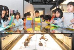地域からの出土品を見学する児童=伊那市荒井の創造館で