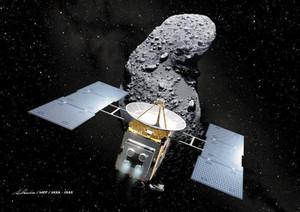 探査機「はやぶさ」と小惑星イトカワの想像図。米科学アカデミーは、地球に接近する恐れのある天体を探る上で重要な探査だったと報告書で評価(宇宙航空研究開発機構・池下章裕氏提供)