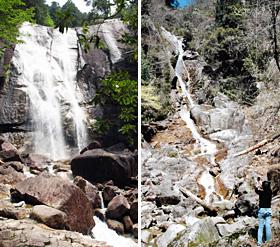 (左)「高さ40メートル、主瀑の天河滝(右)キャンプ場から近い「うるう滝」