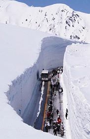 雪の壁の間を進む「雪の大谷ウオーク」(立山黒部貫光提供)