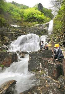 豪快に雪解け水が流れる滝のそばで、遊歩道の柵を設置する作業員=大野市仏原の仏御前の滝で