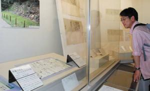 浅井家や豊臣秀吉ゆかりの史料に見入る観光客=長浜市公園町の長浜城歴史博物館で