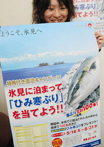 「氷見に泊まってひみ寒ぶりを当てて」と呼び掛けるポスター=氷見市観光協会事務所で