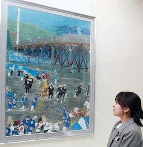 御用材を運ぶ川曳の様子を描いた水野さんの遷宮記録絵画=伊勢市の神宮徴古館で