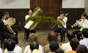 金管アンサンブルの澄んだ音色が響いた「サイトウ・キネン室内勉強会」の発表会=松本市のあがたの森文化会館で