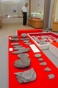 大築海島で発掘された海人族の貝塚史料=鳥羽市鳥羽一の市歴史文化ガイドセンターで