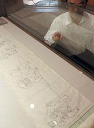 新たに発見された曳山の欄間の下図=いずれも射水市新湊博物館で