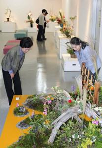 華やかないけばな作品が並ぶ会場=磐田市の磐田市民ギャラリーで