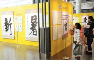 掛け軸やパネルで展示された「今年の漢字」に見入る旅行客ら=中部国際空港で