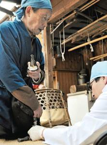 鵜匠の山下純司さんに抱えられて予防接種を受ける鵜=岐阜市長良で