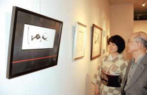 額装のデザインも映える石川さんの個展=浜松市中区のザザシティ浜松中央館で