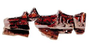 王が所持したとみられる短剣飾りさやの一部=長浜城歴史博物館で