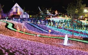 音楽に合わせ色とりどりに輝く「つま恋サウンドイルミネーション」の点灯式=31日夕、掛川市満水で(川戸賢一撮影)