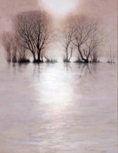 琵琶湖と太陽を描いた中路融人さんの「耀」=県立近代美術館提供