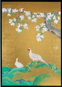 本丸御殿で公開されている国重要文化財「桜花雉子図」の復元模写