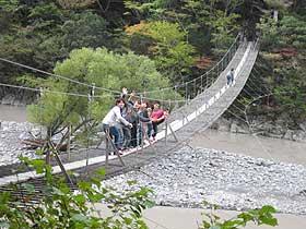 若い男性にも大人気の「夢の吊橋」