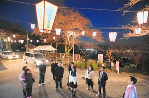 福井市の夜景をバックに、桜の満開より一足早く点灯されたぼんぼり=福井市の足羽山で