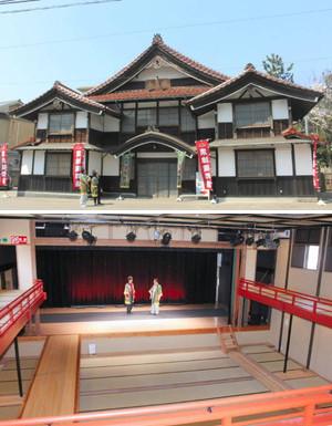 (上)昭和初期の外観を再現した粟津演舞場 (下)2階席から見た演舞場の舞台=いずれも小松市井口町で