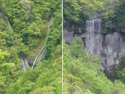 落差の大きい山犀滝(右)と、V字のように見える五郎七滝(左)=高山市上宝町で