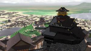 天主の上空からのぞむ景観を映像化した安土城周辺=近江八幡市提供