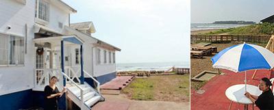 (左)海の前にオープンしたダイニングバー&ペンション「PLAGE(プラージェ)」 (右)店の前は海。潮風を運んでくる。右奥には長手島を望む=いずれも羽咋市柴垣町で