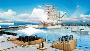 海王丸パークで開かれる海上歓迎・放流行事のイメージ図(県提供)
