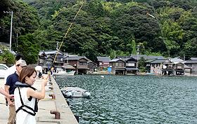 舟屋を望む湾内では、魚釣りも体験できる