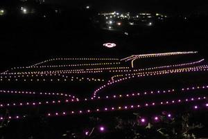 幻想的な雰囲気を演出する坂折棚田のライトアップ=恵那市中野方町で
