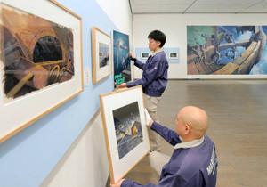 ジブリ映画などアニメーションの背景画が展示されている「山本二三展」=金沢21世紀美術館で