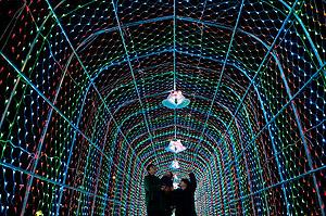 さまざまな色の光で彩られるトンネル=大津市の唐橋公園で