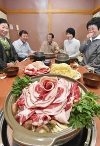 見た目にも美しく、来店客の食欲をそそるぼたん鍋=越前町の魚竹別館ぼたんで