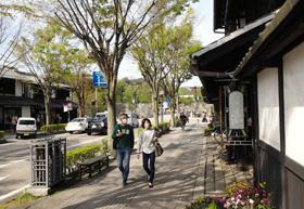 夢京橋キャッスルロードは、城下町の風情を感じさせる町並み。後方は彦根城