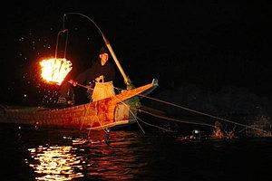 静かな暗闇の中、巧みな手縄さばきを見せる鵜匠=関市小瀬の長良川で