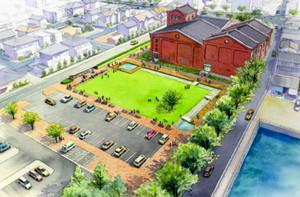 半田赤レンガ建物と芝生広場の完成イメージ図(半田市提供)