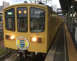 チームロゴが車両の先頭を飾る特別電車=彦根市の近江鉄道彦根駅で