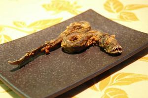 館内のレストランで食べられるワラスボの空揚げ=名古屋港水族館で