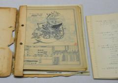 当時、高須さんが手書きし、会場に展示されている設計図=浜松市中区で